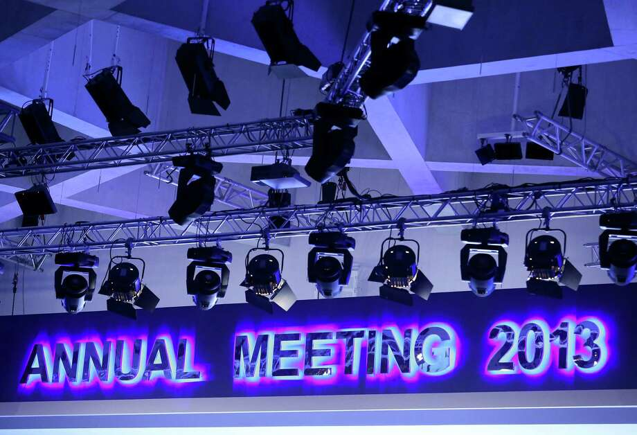 "A sign that reads ""Annual Meeting 2013"" is displayed in the Congress Plenary Hall on the opening day of the World Economic Forum (WEF) in Davos, Switzerland, on Wednesday, Jan. 23, 2013. World leaders, Influential executives, bankers and policy makers attend the 43rd annual meeting of the World Economic Forum in Davos, the five day event runs from Jan. 23-27. Photographer: Chris Ratcliffe/Bloomberg Photo: Chris Ratcliffe, Bloomberg / Copyright 2013 Bloomberg Finance LP, All Rights Reserved."
