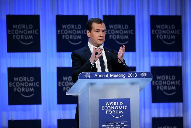 Dmitry Medvedev, Russia's prime minister, delivers the opening keynote speech on the first day of the World Economic Forum (WEF) in Davos, Switzerland, on Wednesday, Jan. 23, 2013. World leaders, Influential executives, bankers and policy makers attend the 43rd annual meeting of the World Economic Forum in Davos, the five day event runs from Jan. 23-27. Photographer: Chris Ratcliffe/Bloomberg *** Local Caption *** Dmitry Medvedev Photo: Chris Ratcliffe, Bloomberg / Copyright 2013 Bloomberg Finance LP, All Rights Reserved.