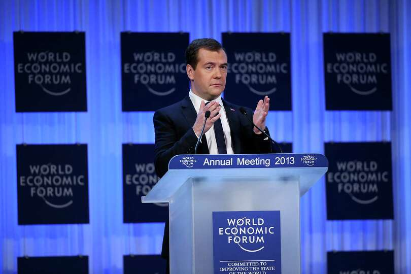 Dmitry Medvedev, Russia's prime minister, delivers the opening keynote speech on the first day of th