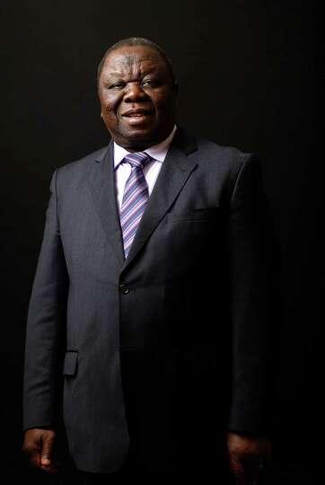 Morgan Tsvangirai, prime minister of Zimbabwe, poses for a photograph following a Bloomberg Televisi