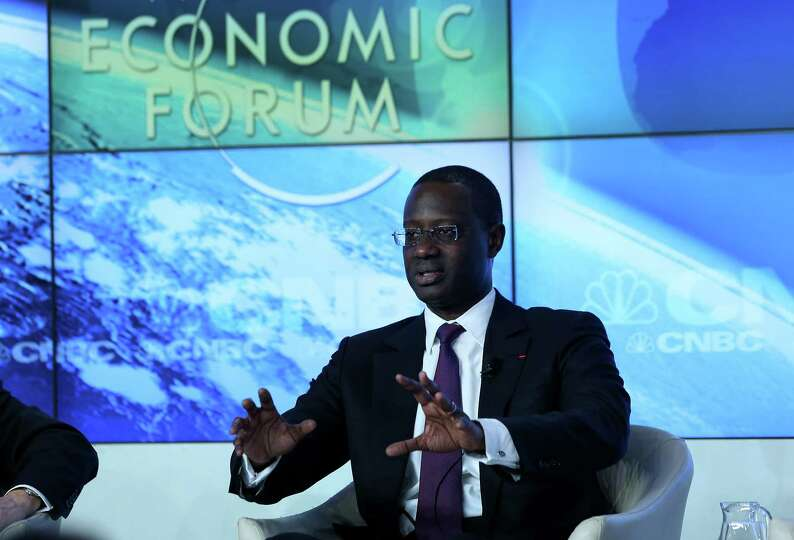 Tidjane Thiam, chief executive officer of Prudential Plc, speaks during a forum session on the openi