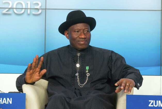 Nigerian President Goodluck Jonathan, is seen prior to a TV debate De-risking Africa, at the 43rd Annual Meeting of the World Economic Forum, WEF, in Davos, Switzerland, Wednesday, Jan. 23, 2013. (AP Photo/Michel Euler) Photo: Michel Euler, Associated Press / AP