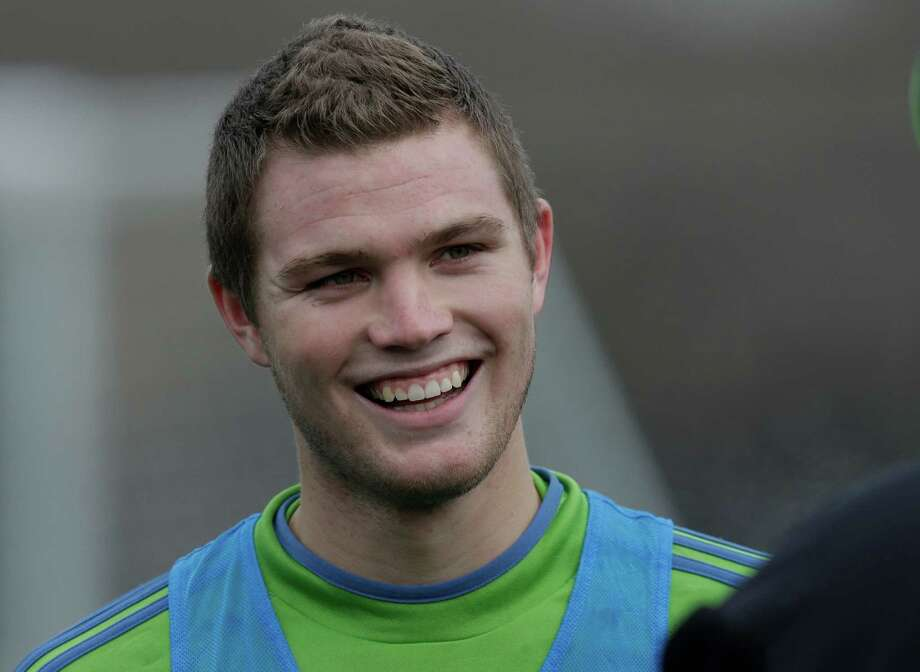 Seattle Sounders top draft pick, Eriq Zavaleta smiles as he waits for an interview following MLS soccer training camp in Tukwila, Wash., Tuesday, Jan. 22, 2013.  Photo: Ted S. Warren, Associated Press / Associated Press
