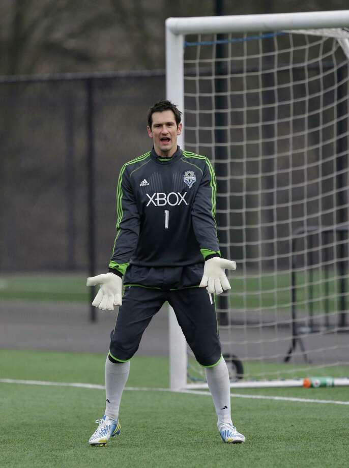 Seattle Sounders goalkeeper Michael Gspurning calls to his team during the Sounders' MLS soccer training camp in Tukwila, Wash., Tuesday, Jan. 22, 2013.  Photo: Ted S. Warren, Associated Press / Associated Press
