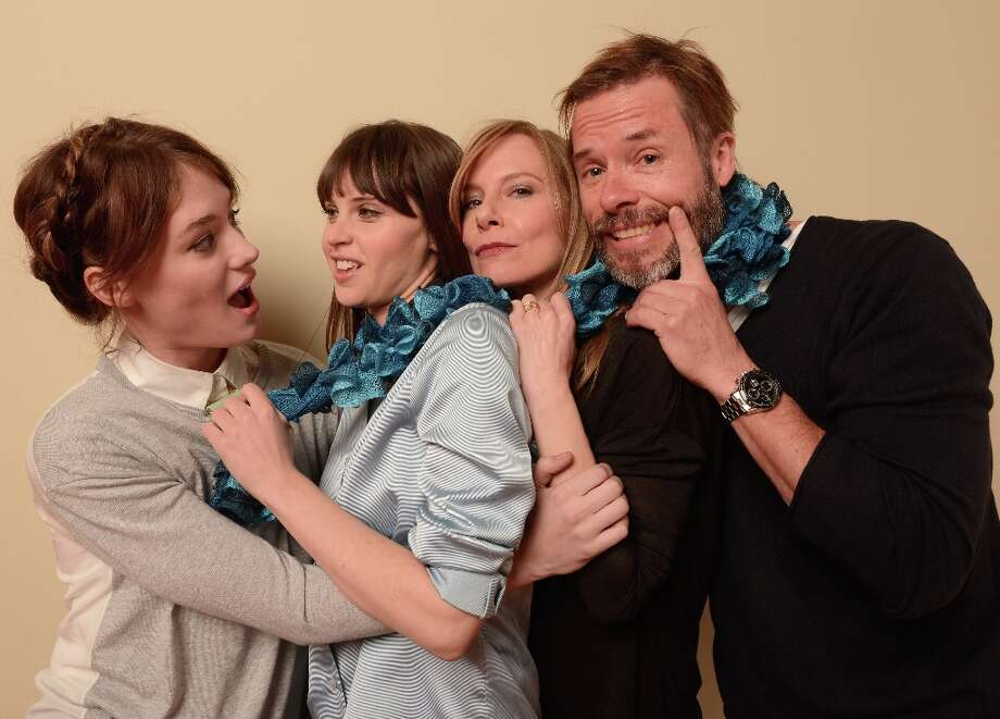 (L-R) Actors Mackenzie Davis, Felicity Jones, Amy Ryan and Guy Pearce from the film Breathe In pose for a portrait during the 2013 Sundance Film Festival at the Getty Images Portrait Studio at Village at the Lift on January 19, 2013 in Park City, Utah. Photo: Larry Busacca, Getty Images / 2013 Getty Images