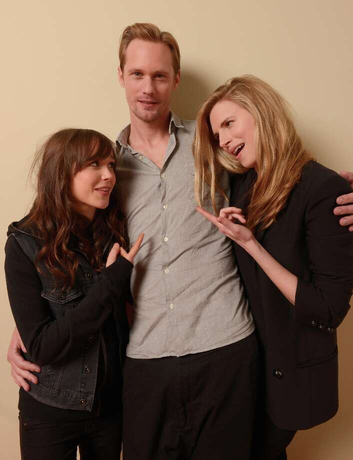 (L-R) Actors Ellen Page, Alexander Skarsgard and Brit Marling from the film The East pose for a portrait during the 2013 Sundance Film Festival at the Getty Images Portrait Studio at Village at the Lift on January 20, 2013 in Park City, Utah. Photo: Larry Busacca, Getty Images / 2013 Getty Images