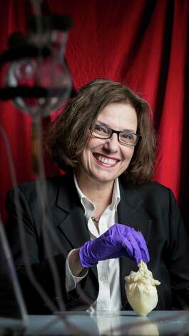 "Dr. Doris Taylor, Director of Regenerative Medicine Research at Texas Heart Institute, holds a heart scaffold which many believe is the first step toward being able to grow new replacement hearts -- and other organs -- for people, Wednesday, Jan. 16, 2013, in Houston.    Dr. Taylor her team garnered international recognition for her work involving ""whole organ decellularization,"" in which they showed they can remove the existing cells from hearts of laboratory animals and even humans to leave a framework for building new organs. By then repopulating the framework with another human adult stem cells and giving it a blood supply, the heart regenerates, taking on the characteristics and functions of a revitalized beating heart.  ( Michael Paulsen / Houston Chronicle ) Photo: Michael Paulsen, Staff / © 2013 Houston Chronicle"