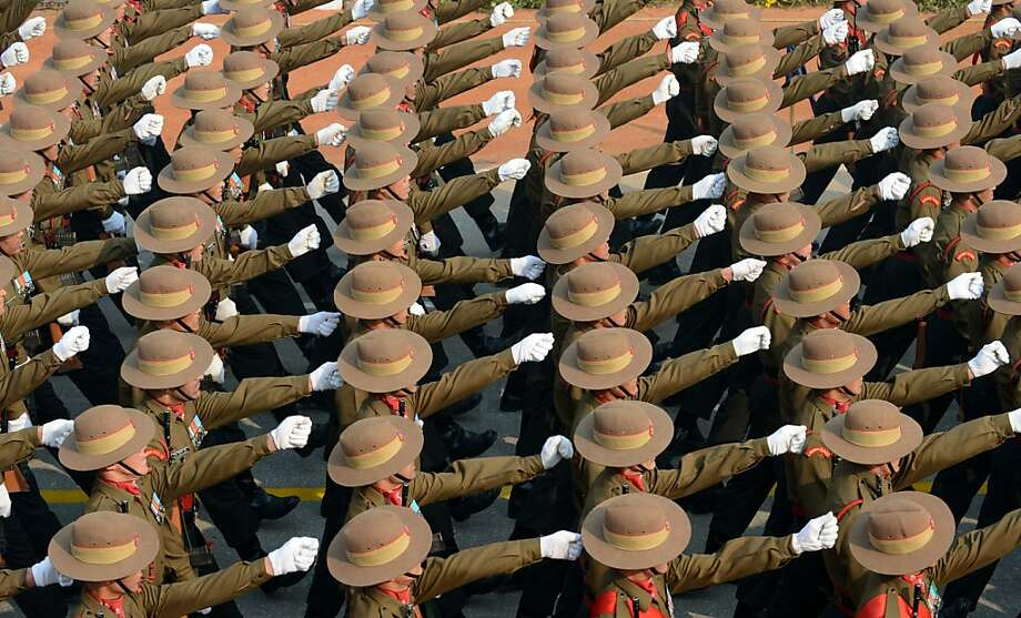 Indian soldiers march down Rajpath during the final full dress rehearsal for the Indian Republic Day parade in New Delhi on January 23, 2013. India will celebrate the 64th Republic Day on January 26 with a large military parade. Photo: Raveendran, AFP/Getty Images