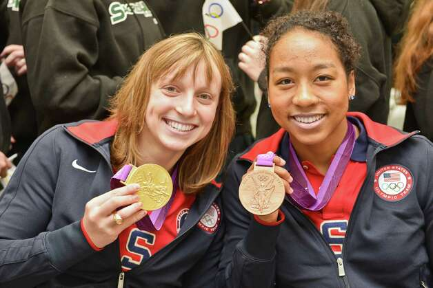 "Olympic swimmers and ""Sacred Heart sisters"" Katie Ledecky, left, and Lia Neal recently visited Convent of the Sacred Heart in Greenwich. Ledecky was a freestyle gold medalist, and Neal was a  bronze medal relay winner at the 2012 Summer Olympics in London. Photo: Alain Almonacy\Contributed Photo"