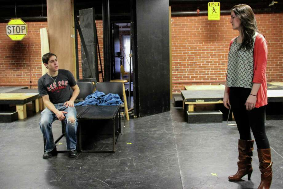 "Rehearsing a scene from Theatre Fairfield's production of the play ""How I Learned to Drive"" are Fairfield University students Joe Plouffe as Peck, left, and Maggie Greene as Lil' Bit. Photo: Contributed Photo"