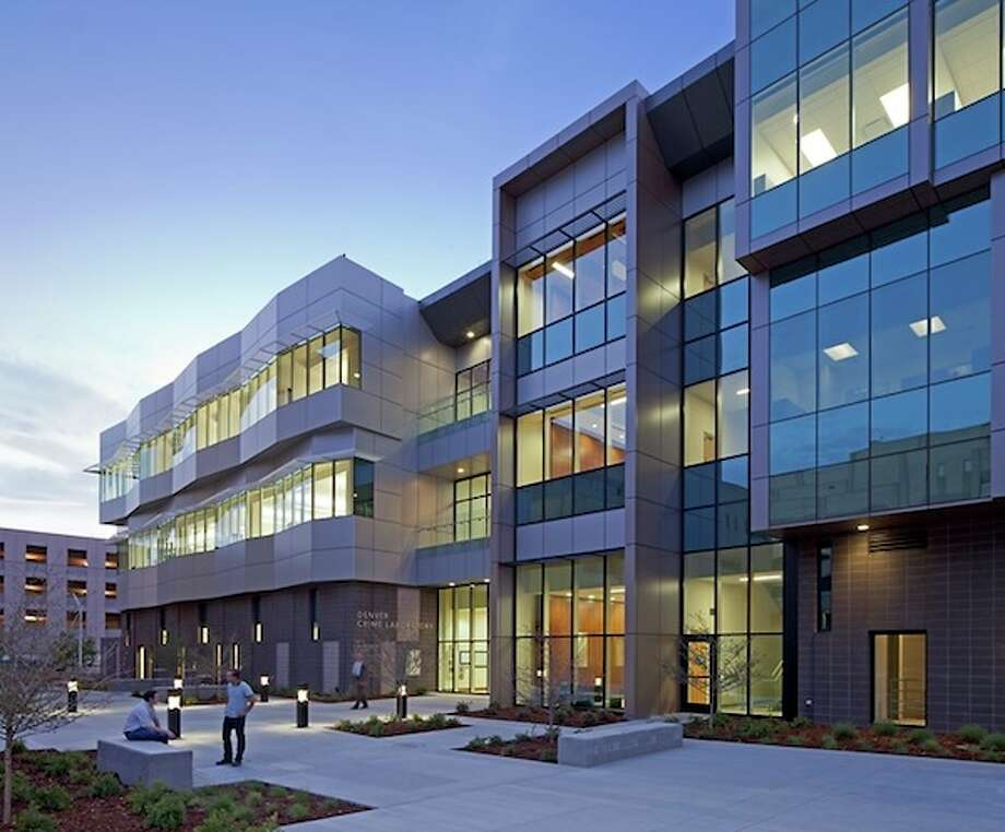3. Colorado: 99 projects, totaling 10.6 million square feet, certified in 2012, equating to 2.1 square feet per person. This is the Denver Police Crime Lab, certified LEED Gold. Photo: Frank Ooms Photography