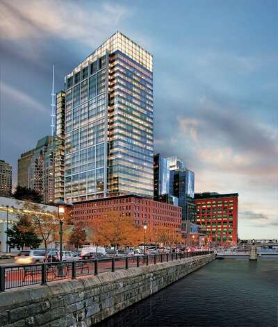 4. Massachusetts: 106 projects, totaling 13.4 million square feet, certified in 2012, equating to 2.05 square feet per person. This is Atlantic Wharf in Boston, certified LEED Platinum. Photo: Anton Grassl