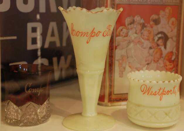 These glasses from Compo Beach date from the 1920s, according to Barbara Van Orden, director of collections at the Westport Historical Society. Photo: Jarret Liotta / Westport News contributed
