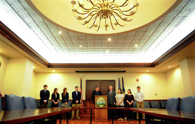 Mayor Bill Finch welcomes Fairfield University interns in the Mayor's Conference Room at the Margaret E. Morton Goverment Center in Bridgeport, Conn. on Wednesday January 23, 2013. Fairfield University and the City of Bridgeport will collaborate on a number of initiatives that build on ecomonic development priorities of the City and also enhance the educational opportunities for the students. Photo: Christian Abraham / Connecticut Post