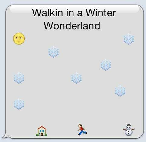 Walking in a Winter Wonderland is an example of emoticon art for an SA Life reader participation story. Photo: Courtesy