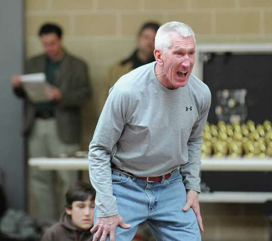 Brunswick wrestling coach Tim Ostrye reacts during the Brunswick Invitational Wrestling Tournament, which was held recently at the school. Photo: Bob Luckey / Greenwich Time