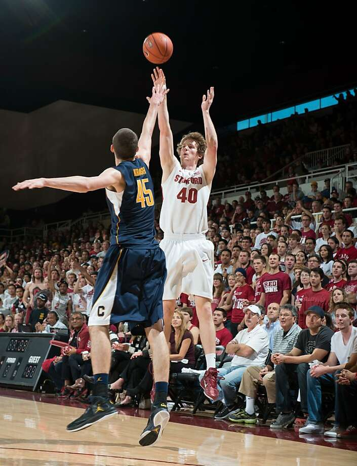 Stanford's John Gage, a 6-foot-10 forward from Washington, was successful on all four of his three-point tries against Cal. Photo: John Todd, Isiphotos.com