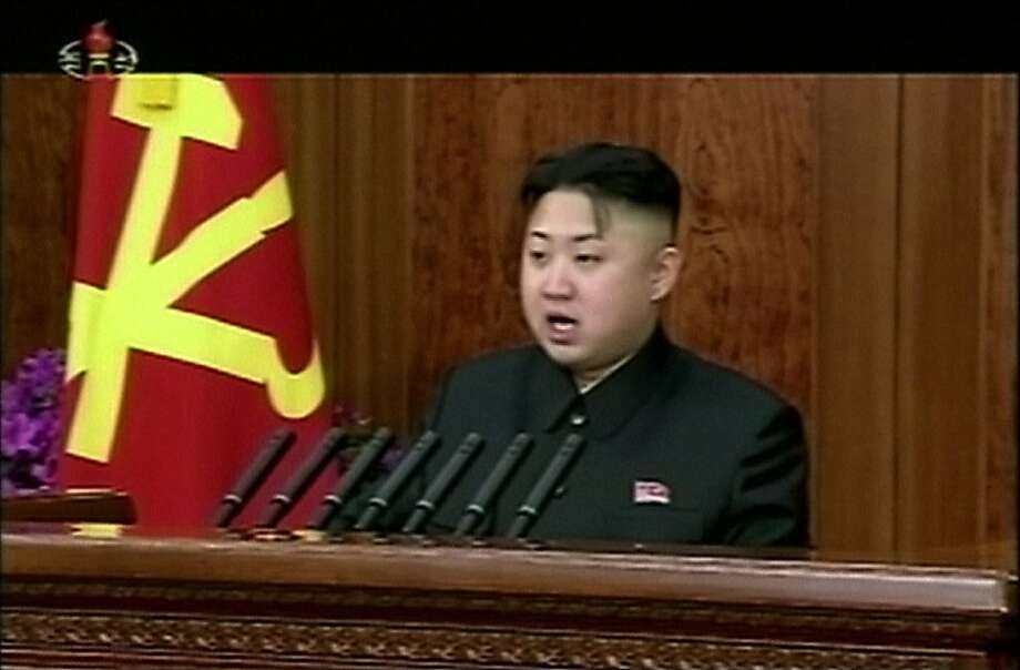 FILE - In this Tuesday, Jan. 1, 2013 file image made from video, North Korean leader Kim Jong Un gives his first speech for the New Year in Pyongyang, North Korea, calling for his country to focus on economic improvements with the same urgency that scientists put into the launch of a long-range rocket last month. North Korea swiftly lashed out against the U.N. Security Council's condemnation of its December launch of a long-range rocket, saying Wednesday, Jan. 23, that it will strengthen its military defenses ? including its nuclear weaponry ? in response. The defiant statement from North Korea's Foreign Ministry was issued hours after the Security Council unanimously adopted a resolution condemning Pyongyang's Dec. 12 rocket launch as a violation of a ban against nuclear and missile activity. (AP Photo/KRT via AP Video, File) TV OUT, NORTH KOREA OUT Photo: Uncredited, Associated Press