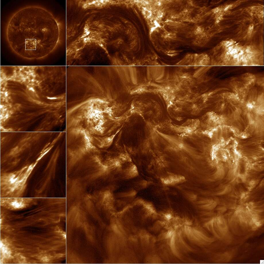 "From NASA: The Hi-resolution Coronal Imager full resolution image shown here is from the solar active region outlined in the AIA image (upper left). Several partial frame images are shown including a portion of a filament channel (upper center/right), the braided ensemble (left, second from top), an example of magnetic recognition and flaring (left, third from top), and fine stranded loops (left, bottom). These Hi-C images are at a resolution of 0.2"" or 90 miles. This resolution is the equivalent of resolving a dime from 10 miles away."