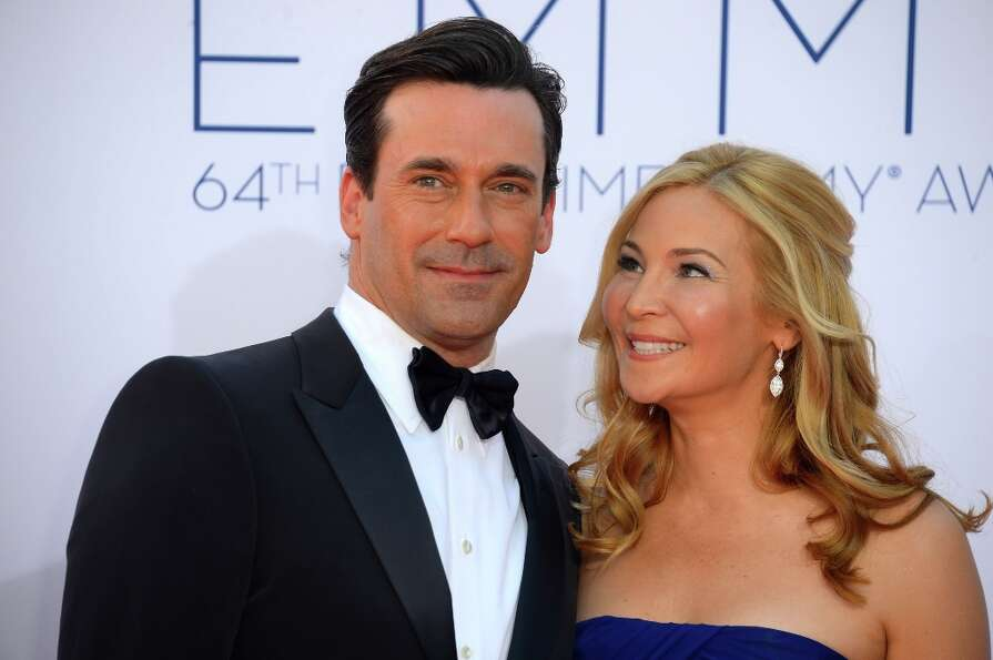 Jon Hamm and Jennifer Westfeldt in 2012, at the Emmys.