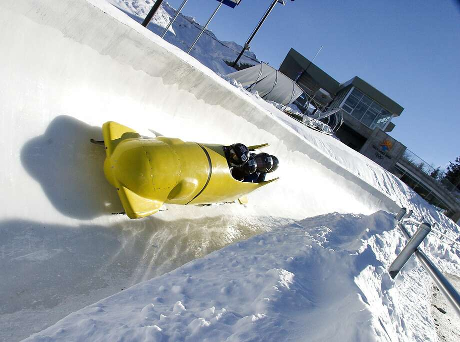 A Bob sleigh is seen on the track at the Utah Olympic Park. Photo: Utah Olympic Park