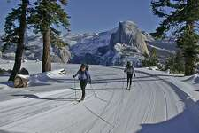 Glacier Point Road cross-country skiers with Half Doom looming in pay-off view Photo courtesy Delaware North/Badger Pass Mountaineering