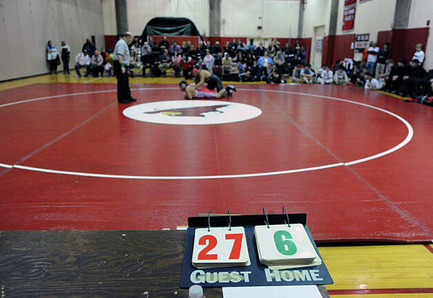 High school wrestling match between Greenwich High School and Bridgeport Central High School at Greenwich, Wednesday night, Jan. 23, 2013. Photo: Bob Luckey / Greenwich Time
