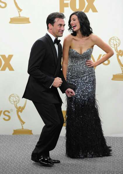Paré goofing around with Jon Hamm at the 2011 Emmys.