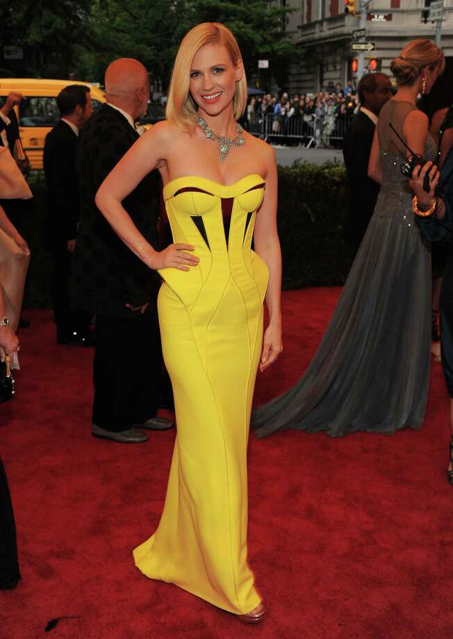 These days, January Jones often looks polished on the red carpet. She's pictured at a Schiaparelli and Prada event at the Met's Costume Institute Gala on May 7, 2012. Photo: Larry Busacca, Getty Images / 2012 Getty Images