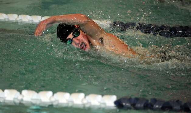 Westhill-Stamford's Kris Bittel competes in the 400 meter freestyle race during their meet with Staples High School Wednesday, Jan. 23, 2013 in Westport, Conn. Photo: Autumn Driscoll / Connecticut Post