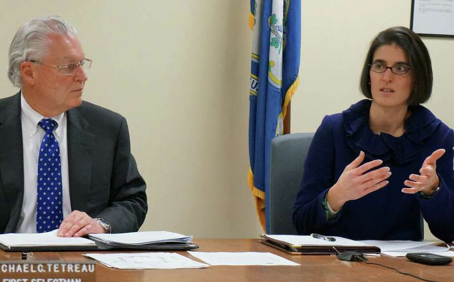 First Selectman Michael Tetreau and Selectman Cristin McCarthy Vahey on Wednesday discuss the independent counsel's review of firefighter promotions and pensions. FAIRFIELD CITIZEN, CT 1/23/13 Photo: Genevieve Reilly / Fairfield Citizen