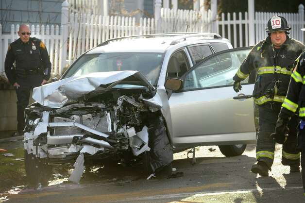One of a pair of motor vehicles involved in a serious collision at the intersection of Madison and Burnsford Avenues in Bridgeport on Wednesday, January 23, 2013. Photo: Brian A. Pounds