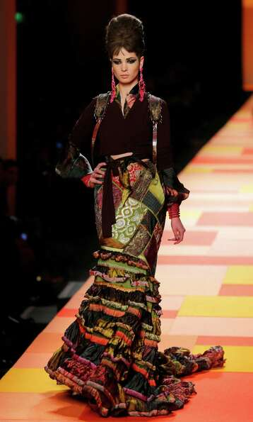A model wears a creation for French fashion designer Jean-Paul Gaultier.