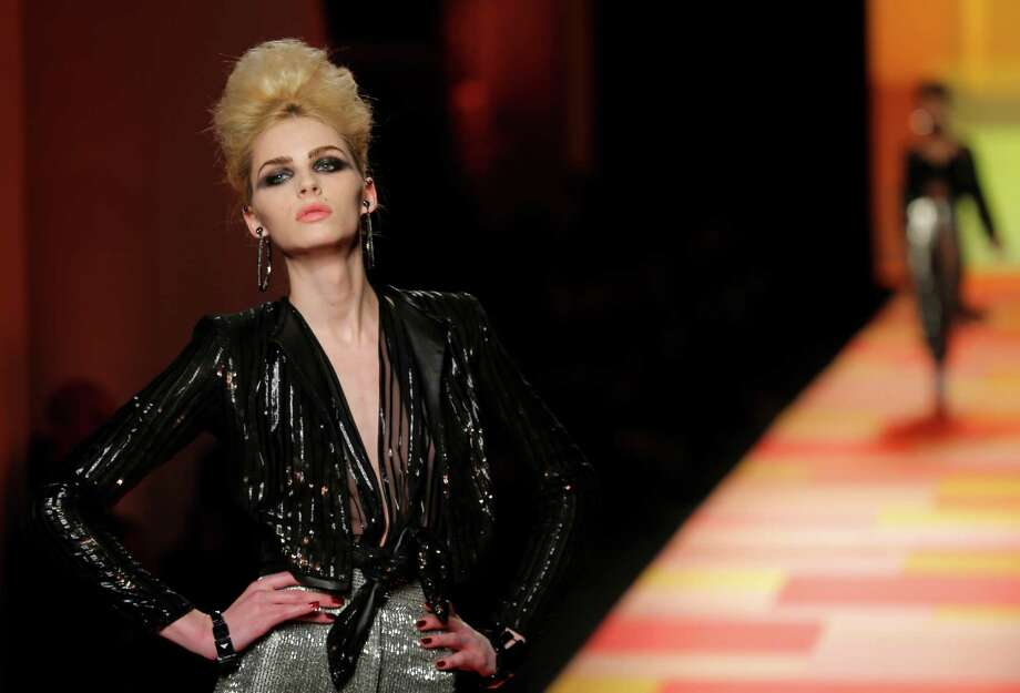A model wears a creation for French fashion designer Jean-Paul Gaultier. Photo: AP