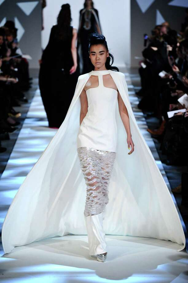 A model wears a creation by fashion designer Georges Chakra. Photo: Zacharie Scheurer, AP / AP