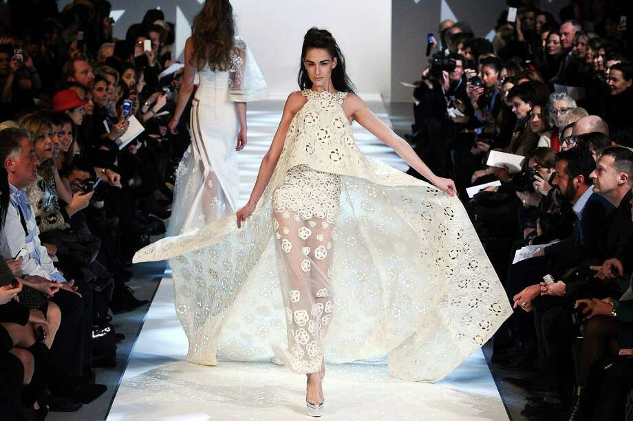 A model wears a creation by fashion designer Georges Chakra. Photo: Zacharie Scheurer, AP / AP