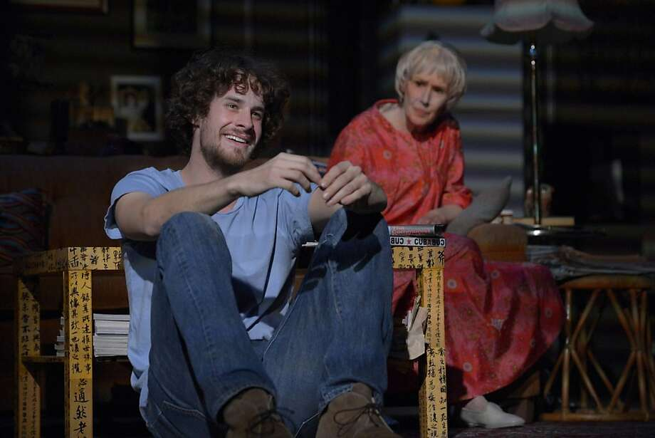 "Neo-hippie Leo (Reggie Gowland) drops in on commie grandmother Vera (Susan Blommaert) in ""4000 Miles"" at ACT. Photo: Kevin Berne"