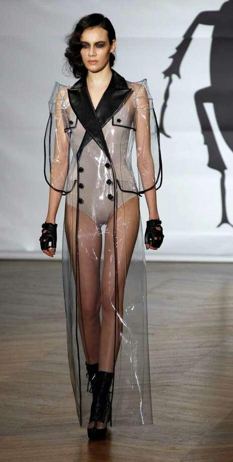 A model wears a creations by Bulgarian designers Livia Stoianova and Yassen Samouilov for On Aura Tour Vu. Photo: AP