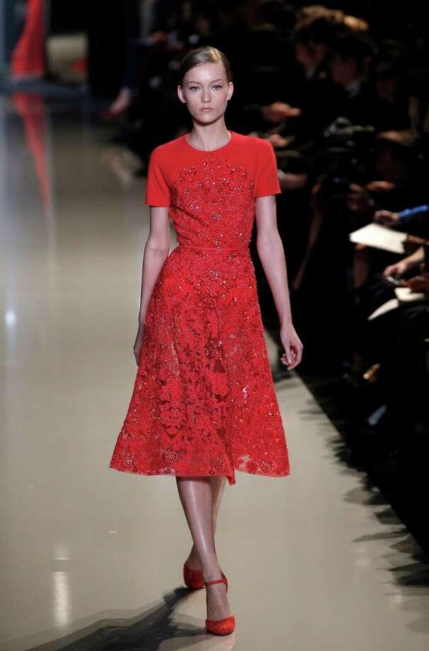 A model wears a creation by Lebanese fashion designer Elie Saab. Photo: AP