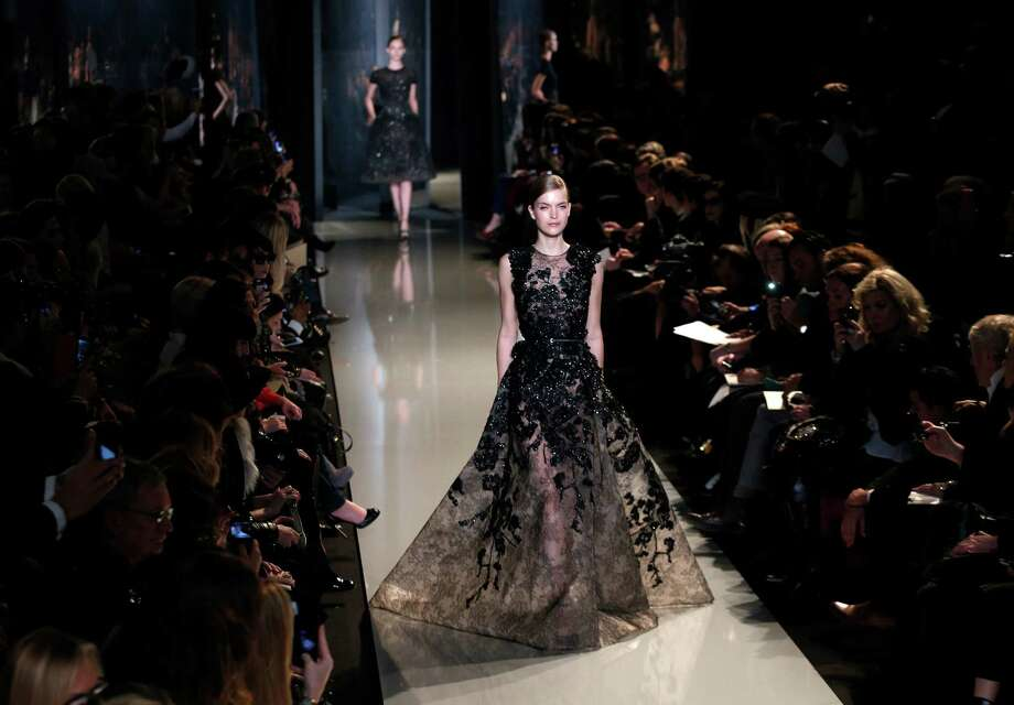 A model wears a creation by Lebanese fashion designer Elie Saab. Photo: AP