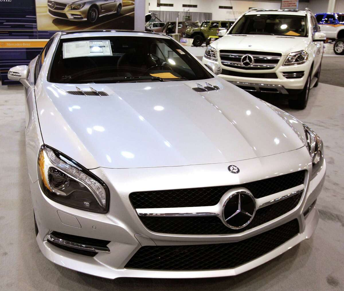 A Mercedes-Benz SL550 Roadster shown at the Houston Auto Show in Reliant Center, Tuesday, Jan. 22, 2013, in Houston. The show runs from Jan. 23 through Jan. 27. ( Melissa Phillip / Houston Chronicle )