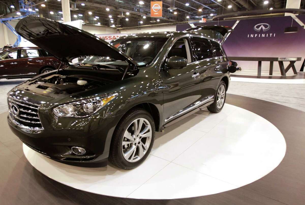 An Infiniti JX35 shown at the Houston Auto Show in Reliant Center, Tuesday, Jan. 22, 2013, in Houston. The show runs from Jan. 23 through Jan. 27. ( Melissa Phillip / Houston Chronicle )