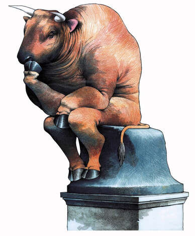 11/17/97 STORY SLUG: Stand-alone   illustration, business, stock, market, stocks, dow, industrial, jones, average, bull, thinker, rodin, finances, finance, personal, investment, saving, savings, income, tax, taxes, sj, griswold, 1997
