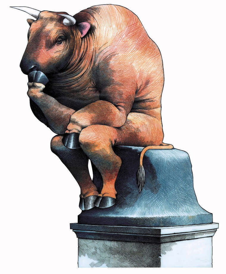 160 dpi 39p x 47p Doug Griswold color illustration of Wall Street bull in pose of Rodin's The Thinker. San Jose Mercury News 1997    CATEGORY: ILLUSTRATION SUBJECT: Thinker bull illus ARTIST: Doug Griswold ORIGIN: San Jose Mercury News TYPE: EPS JPEG SIZE: As needed ENTERED: 11/17/97 STORY SLUG: Stand-alone   illustration, business, stock, market, stocks, dow, industrial, jones, average, bull, thinker, rodin, finances, finance, personal, investment, saving, savings, income, tax, taxes, sj, griswold, 1997