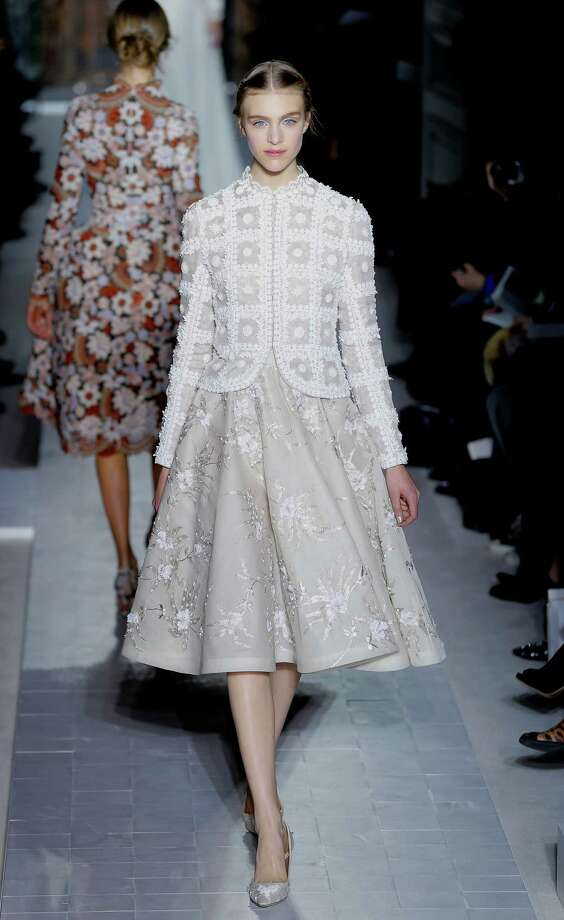 A model wears a creation by fashion designers Maria Grazia Chiuri and Pier Paolo Piccioli for Valentino. Photo: AP