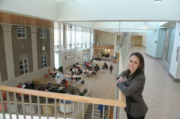 Meghan Haley-Quigley, the sustainability coordinator at Union College, poses inside the Wold Science/ Engineering Center on Wednesday, Jan. 23, 2013 in Schenectady, NY.  The building was certified as LEED Gold by the U.S. Green Building Council in 2012.   (Paul Buckowski / Times Union) Photo: Paul Buckowski