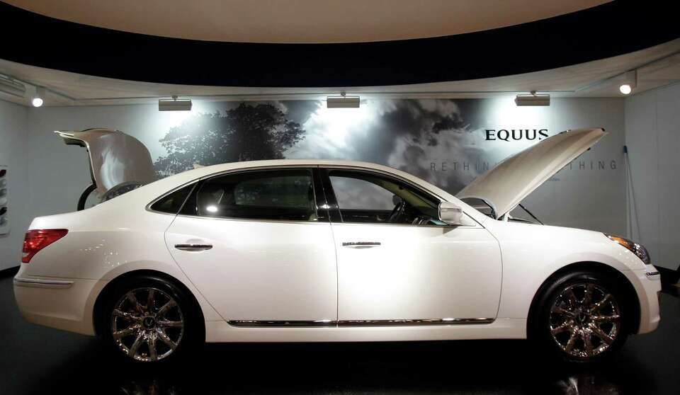 A Hyundai Equus shown at the Houston Auto Show in Reliant Center, Tuesday, Jan. 22, 2013, in Houston