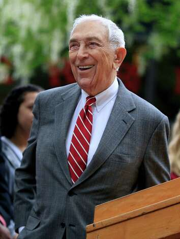 "FILE - In this May 3, 2012 file photo, U.S. Sen. Frank Lautenberg, D-N.J. smiles as he stands on the Rutgers-Camden campus in Camden, N.J. Lautenberg, at age 88 the oldest sitting U.S. senator, said Tuesday, Jan. 22, 2013 that the mayor of the state's largest city is entitled to run next year for the seat he now holds _ but he did not yet reveal his own plans. Newark Mayor Cory Booker likely won't be the only candidate ""drooling at the mouth"" over the job, Lautenberg noted while talking with reporters in Washington. (AP Photo/Mel Evans, File) Photo: Mel Evans"