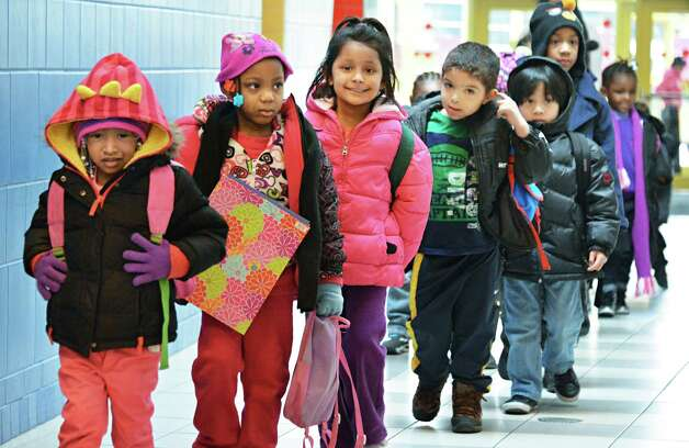 Pre-kindergarten class line up at hte end of the day at Sheridan Preparatory Academy in Albany Tuesday Jan. 22, 2013.  (John Carl D'Annibale / Times Union) Photo: John Carl D'Annibale / 00020870A