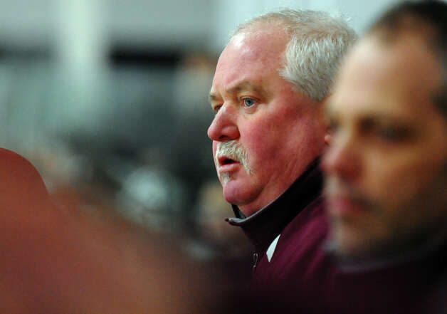 St. Joseph Head Coach Marty Crouse, during hockey action against Trumbull in Shelton, Conn. on Wednesday January 23, 2013. Photo: Christian Abraham / Connecticut Post
